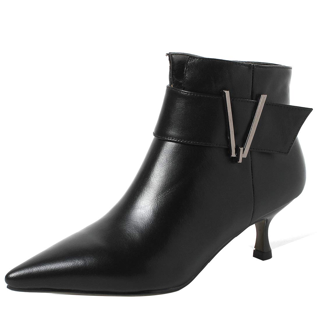 Black Eithy Women's Shadd Stiletto Ankle-high Zipper Leather Boots
