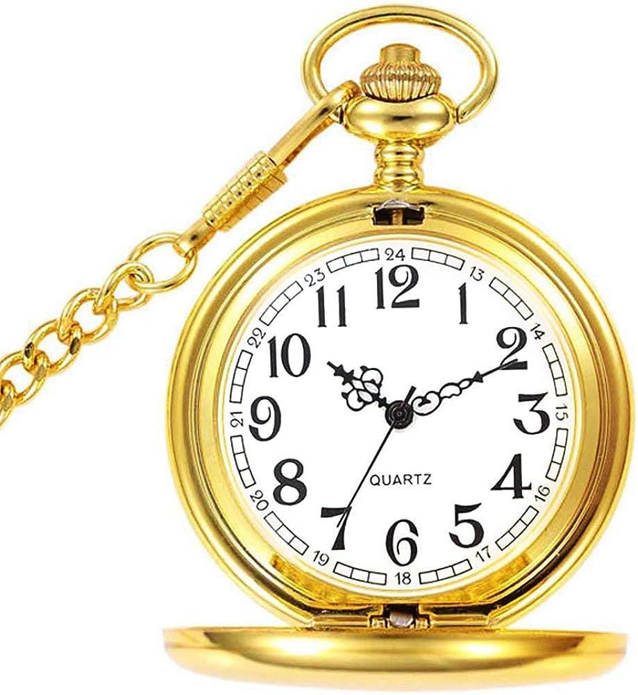 Reloj de Bolsillo para Hombre con Cadena, Colgante de Cuarzo Relojes de Bolsillo para papá/Abuelo como Regalo Retro para el día del Padre, cumpleaños, Aniversario, Navidad