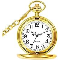 Reloj de Bolsillo para Hombre con Cadena, Colgante de Cuarzo Relojes de Bolsillo para papá/Abuelo como Regalo Retro para…
