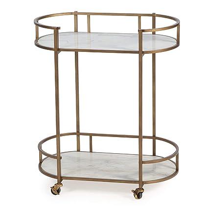 Amazon Com Modern Glam Gold Metal Marble Serving Cart Buffet