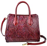 PIJUSHI Women Leather Handbags Shoulder Bags Floral Ladies Top Handle Tote Bags 33120(One Size, Red)