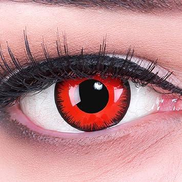 Lentillas de Color Rojo Negro Red Demon 1 par Halloween Carnaval, Carnaval de Halloween Gratis Estuche de lentillas sin graduación: Amazon.es: Salud y cuidado personal