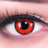 Lentillas de Color Rojo Negro Red Demon 1 par Halloween Carnaval, Carnaval de Halloween Gratis Estuche de lentillas sin…