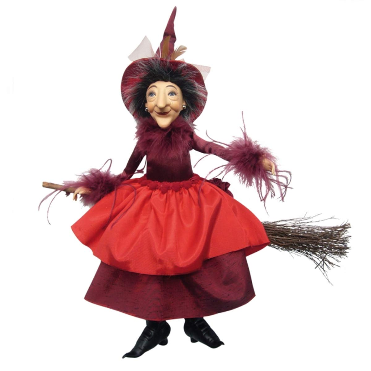 Witches of Pendle - Felicity Hanging & Sitting on Broom (Red) 45cm 164-2