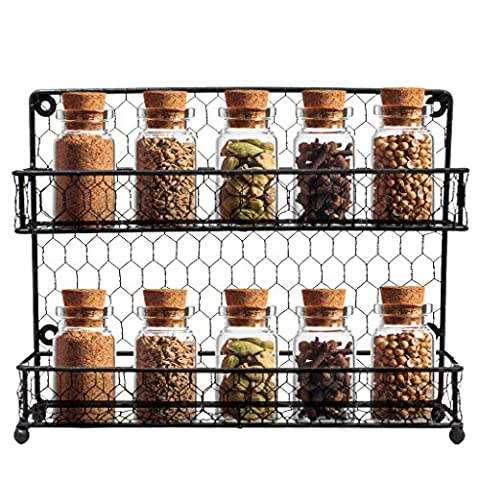 Sorbus Spice Rack Multi-Purpose Organizer- 2 Tier Wall Mount or Counter Top Display Storage Spice - Little One Drawer Pulls