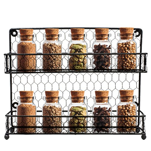 Sorbus Spice Rack Multi-Purpose Organizer- 2 Tier Wall Mount or Counter Top Display Storage Spice Rack ()