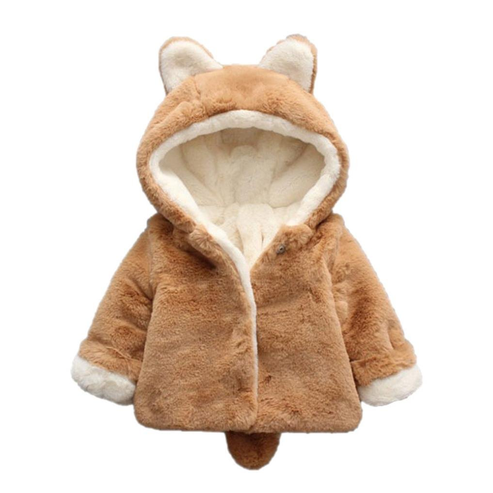 Cute Baby Girls Boys Fur Autumn Winter Hooded Coat Cloak Jacket Thick Warm Clothes (Khaki, 0-6M)