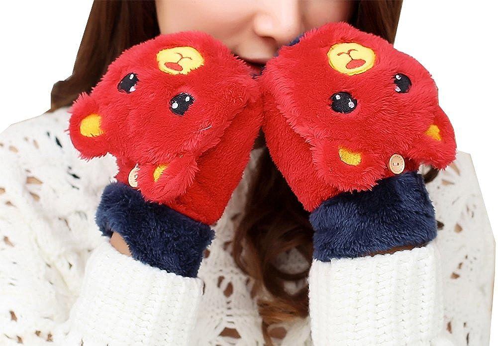 Girls Cute Bear Fluffy Warm Soft Winter Fingerless Gloves Women Mitten