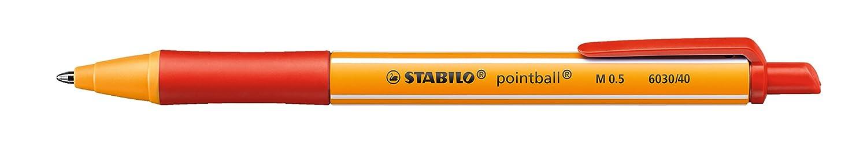 STABILO pointball - Bolígrafo retráctil ecológico recargable - Caja con 10 unidades - Color azul 6030/41