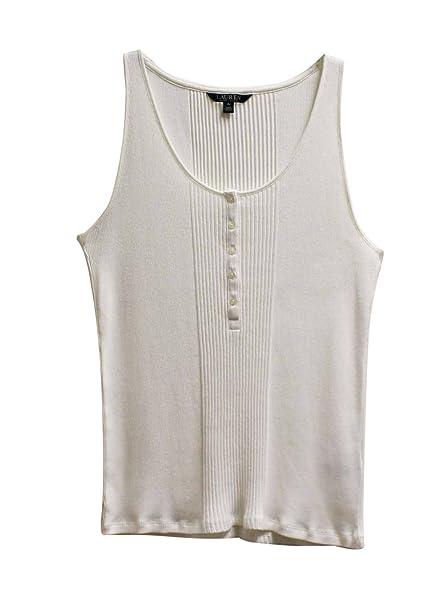 Lauren Ralph Lauren Womens Ribbed Henley Tank Top Shirt Pearl XL