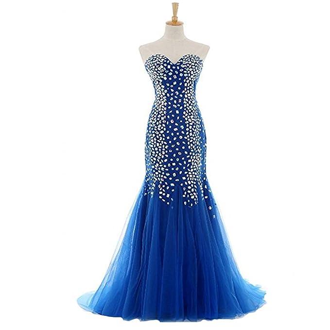 JiaYi Crystal Luxury Beads vestido largo azul Royal Sweetheart vestidos de fiesta vestido largo