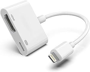 Apple Lightning to HDMI Digital AV Adapter for iPhone, 1080P Digital Sync Screen Converter AV Adapter Charging Port for iPhone/iPad/iPod HDMI Converter for HD TV/Projector/Monitor Support All iOS