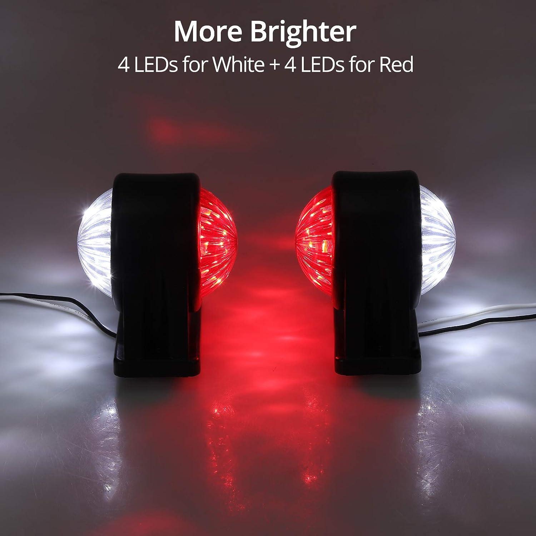 LiNKFOR Side Marker Lights E-mark E8 2 PCS 2 6 LEDs Super Bright Trailer Side Lights IP65 Waterproof LED Marker Lights Long Lifespan White Red for 12// 24V Trailer Truck Etc