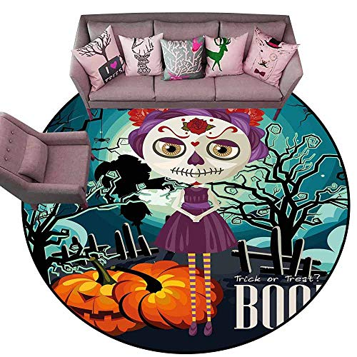 Kitchen Carpet Halloween,Cartoon Girl with Sugar Skull Makeup Retro Seasonal Artwork Swirled Trees Boo,Multicolor Diameter 48
