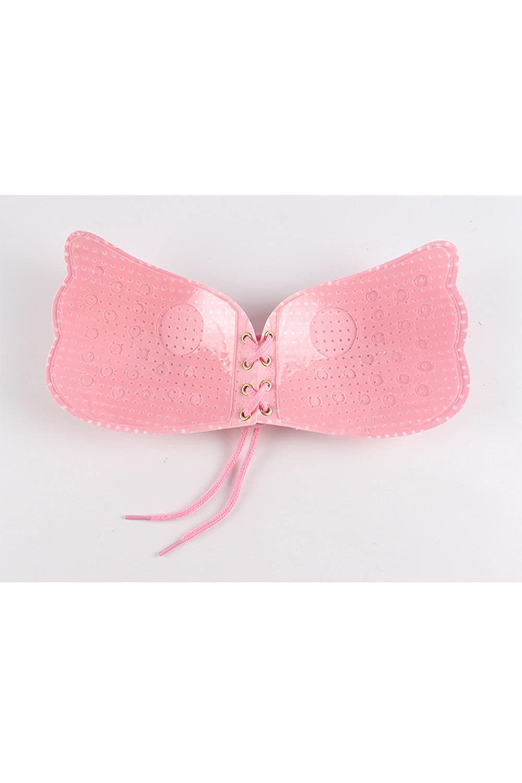 Vepodrau Women Strapless Bra Sticky Push up Self Adhesive Invisible Bra Pink XS