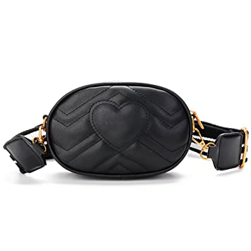 611f2b043801 Amazon.com | Herald Fashion Elegant Quilted Leather Fanny Pack Classy Wasit  Bag with Two Belts | Waist Packs