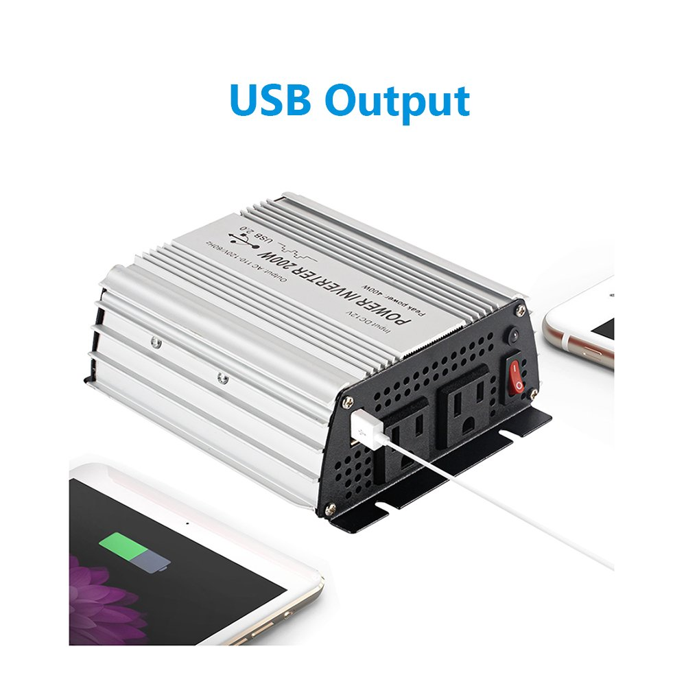 E-LION 200W Power Inverter DC 12V Output 110V-120V AC Car Inverter with USB Car Adapter
