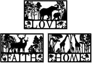 Nachic Wall Love Faith Home Wall Decor Deer Elephant and Giraffe in Forest Landscape Metal Wall Art Animal Family Love Wall Sculpture for Farmhouse Cabin Indoor Outdoor Decorations