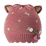 Eriso Baby Little Girls Knitted Flower Bud Cap Crochet Hat (S/9-18 Months, Berry)
