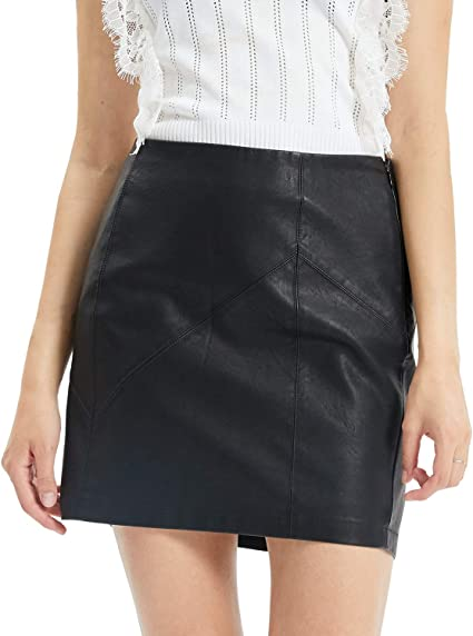 Black Lace Up Bodycon Skirt PU Leather Cut Out Stretch Pencil Mini Waisted