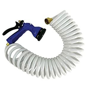 Whitecap 25 Coiled Hose with Adjustable Nozzle