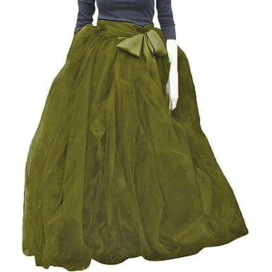 21dfecddd03 WDPL Women s Full Length Tulle Strips Masquerade Ball Skirt (Army Green