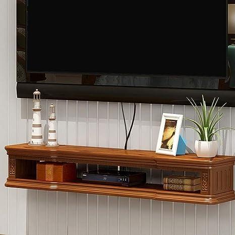 Soporte De TV Flotante Consola De TV Mueble TV Suspendido Madera Maciza Armario De Almacenamiento De Set Top Box Estante (Color : Brown+White, Tamaño : 100 * 24 * 17cm): Amazon.es: Hogar