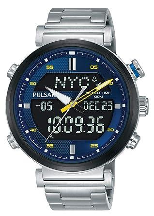 Pulsar Reloj analogico-Digital para Hombre de Cuarzo con Correa en Acero Inoxidable PZ4049X1: Amazon.es: Relojes
