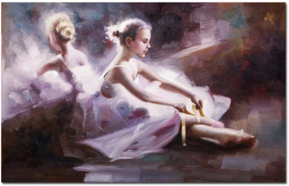 Mmdianpu Impresiones en Lienzo Abstracto Ballet Danza Retrato Pinturas al óleo Bailarina Moderna Belleza Chica Cuadro de Pared para Sala de Estar Decoración del hogar (60x100 cm sin Marco)