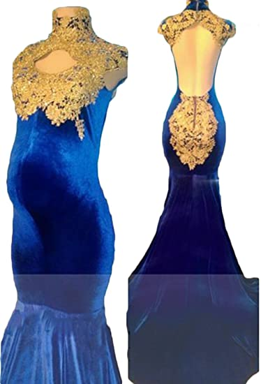 Ri Yun Women S Sexy Backless Velvet Royal Blue Mermaid Maternity
