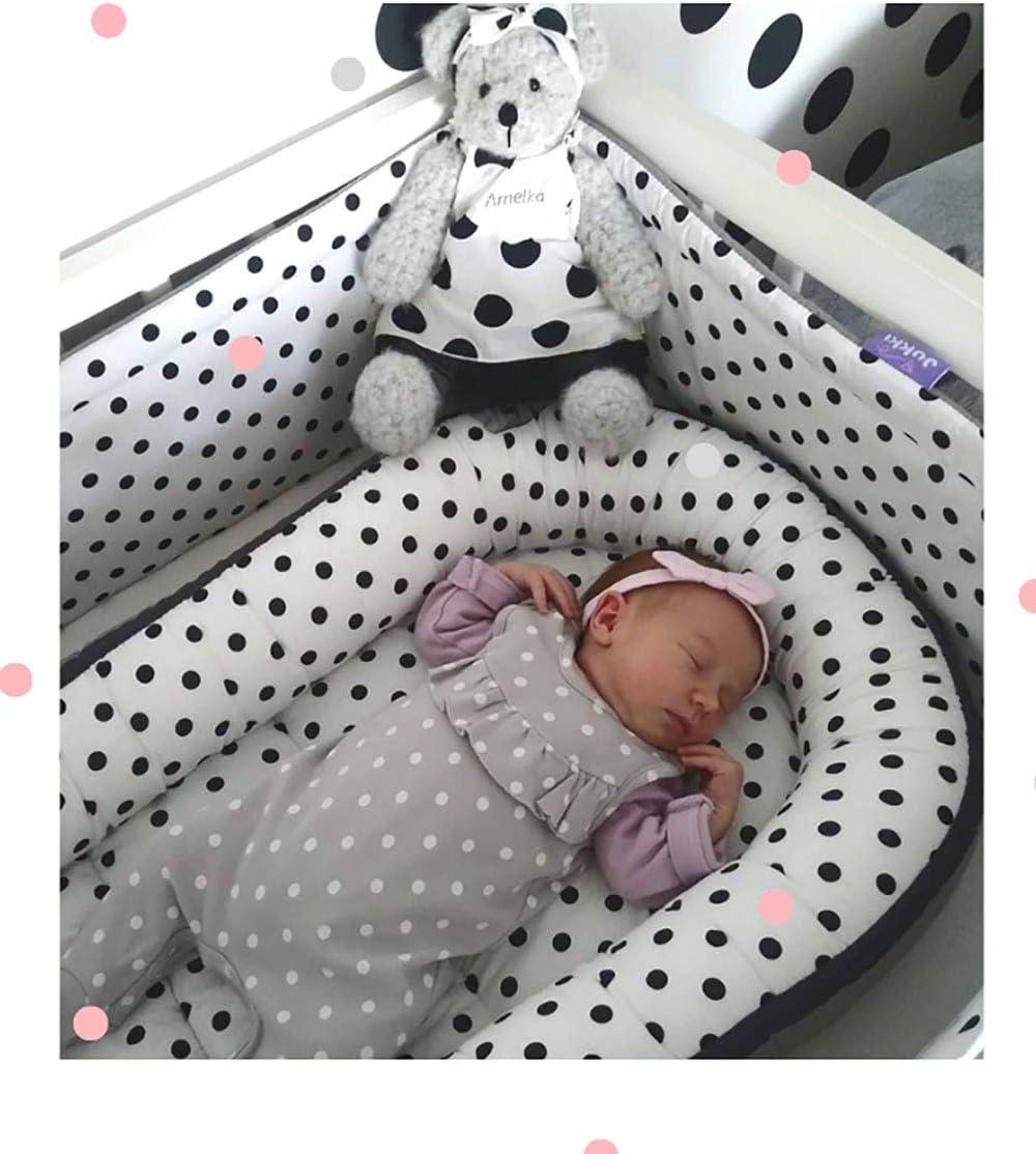 ecol/ógico 100/% algod/ón para reci/én nacidos Solvera Ltd suave y seguro Nido para beb/é de 2 caras 50 x 90 cm gris Dots//Grau coco
