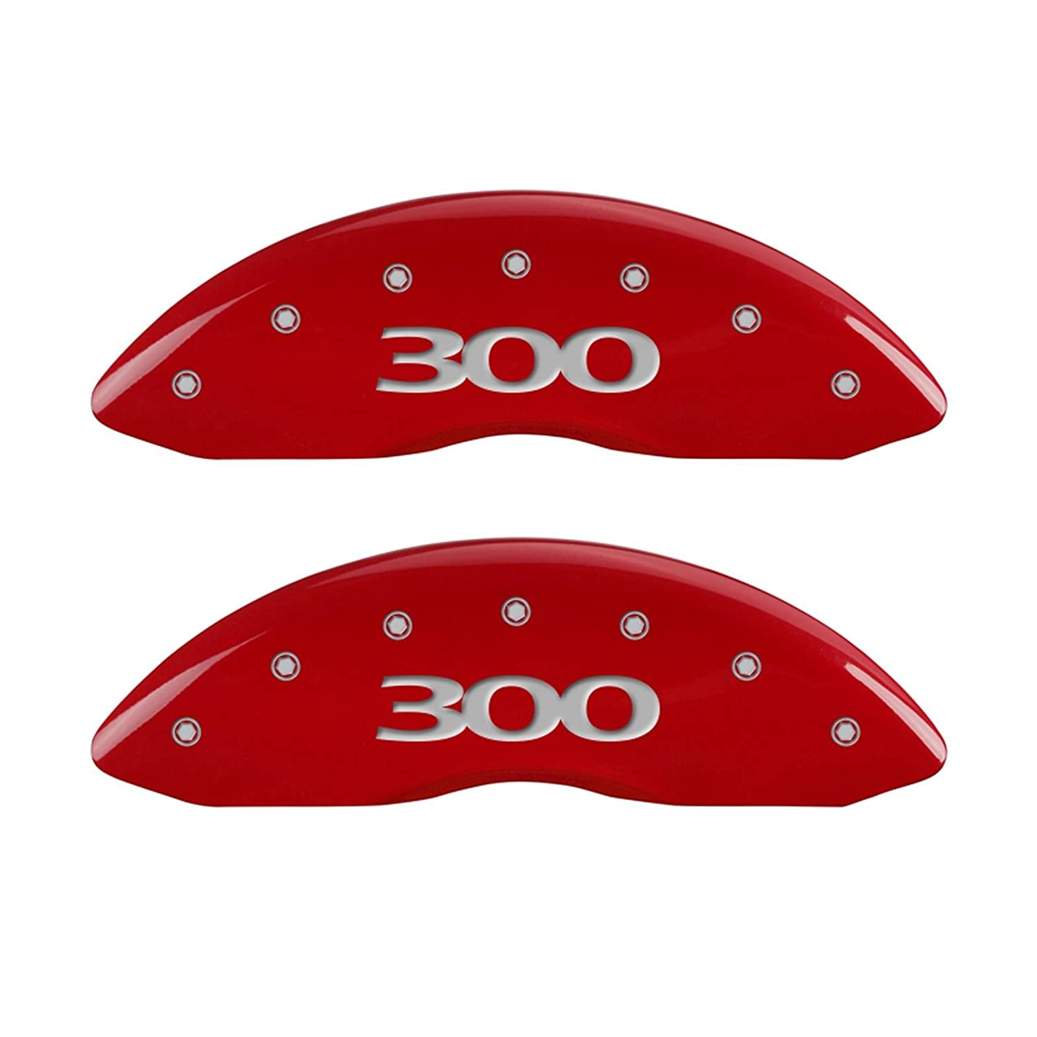 MGP Caliper Covers (32004S300RD) '300' Engraved Caliper Cover with Red Powder Coat Finish and Silver Characters, (Set of 4)