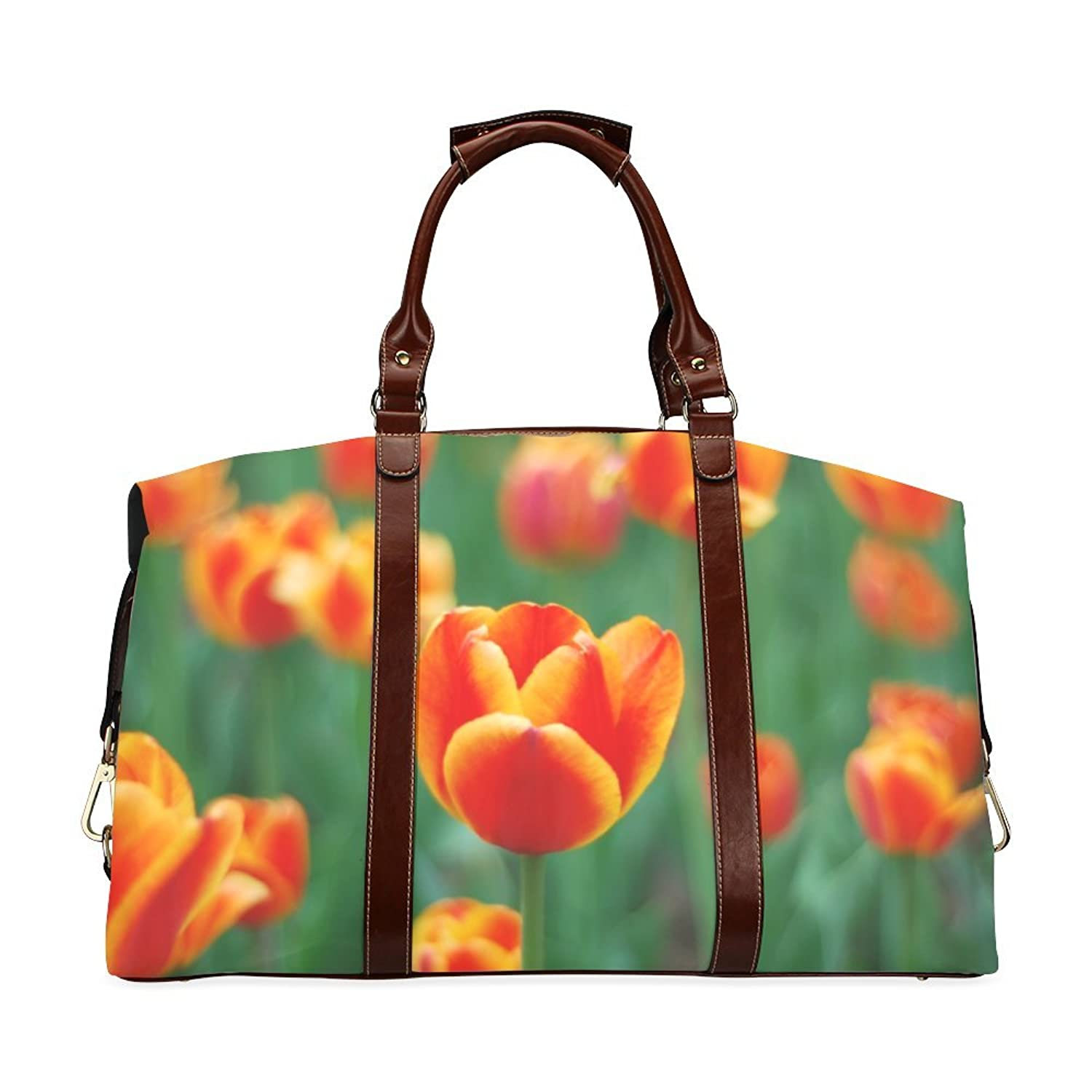 Spring Tulips Custom Waterproof Fabric Two-sided Printing Flight Bag