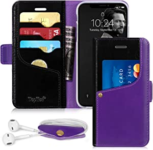 Toplive iPhone XR Case 6.1 Flip Folio Leather Wallet Case Cover for Apple iPhone XR 6.1'' 2018 with Earphone Holderr,Purple+Black
