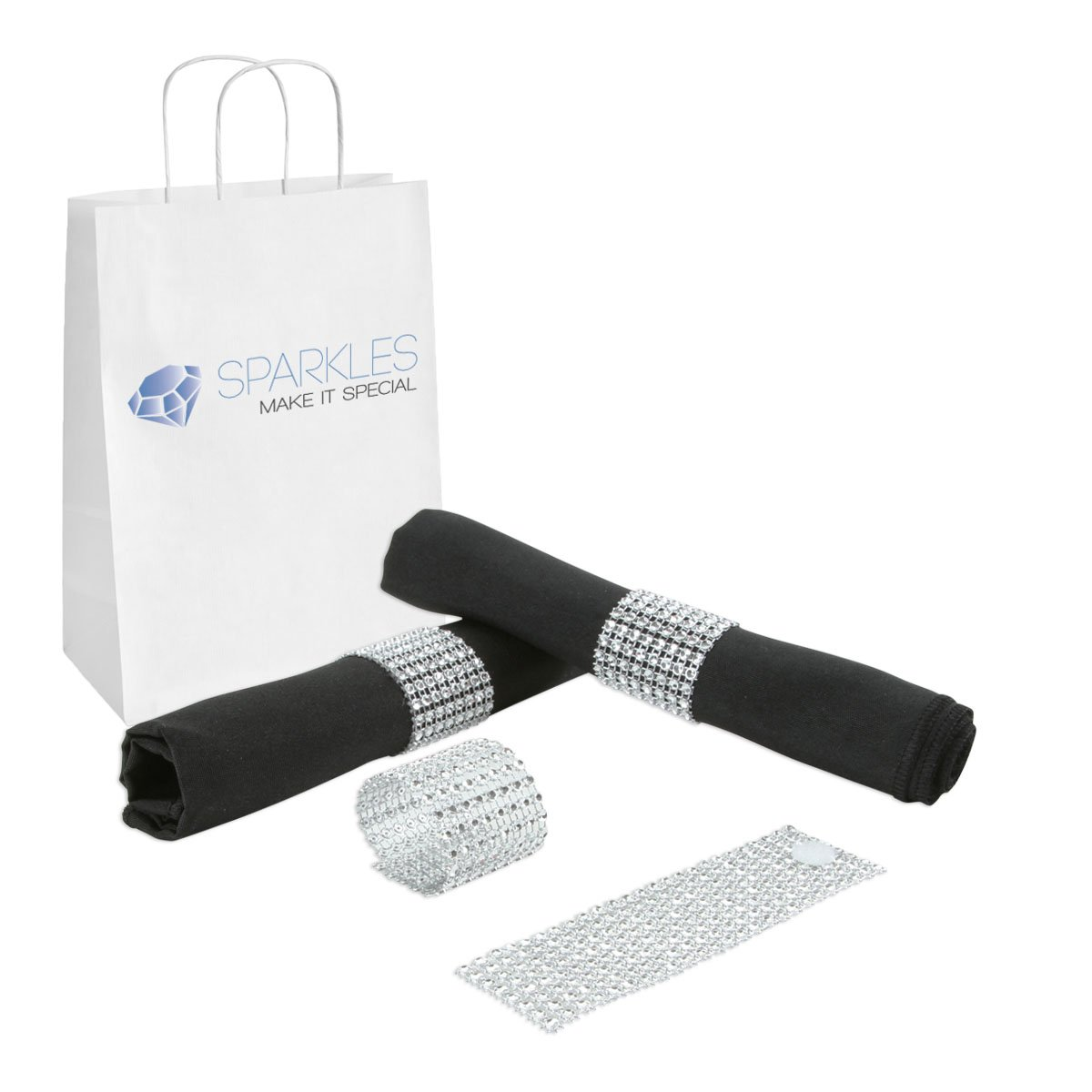 Sparkles Make It Special 400-pcs Rhinestone Diamond Napkin Rings - Reusable Velcro - 19 Colors - Choose Your Quantity - Silver - Wedding Party Dinner Banquet Reception - Chair Bow Cover