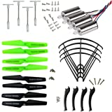 XiaoPengYo Syma X5SC X5SW X5SC-1 X5SW-1 Spare Parts Motor + Propeller Blades Protecting Frame & Landing Skids & Gear (Black)
