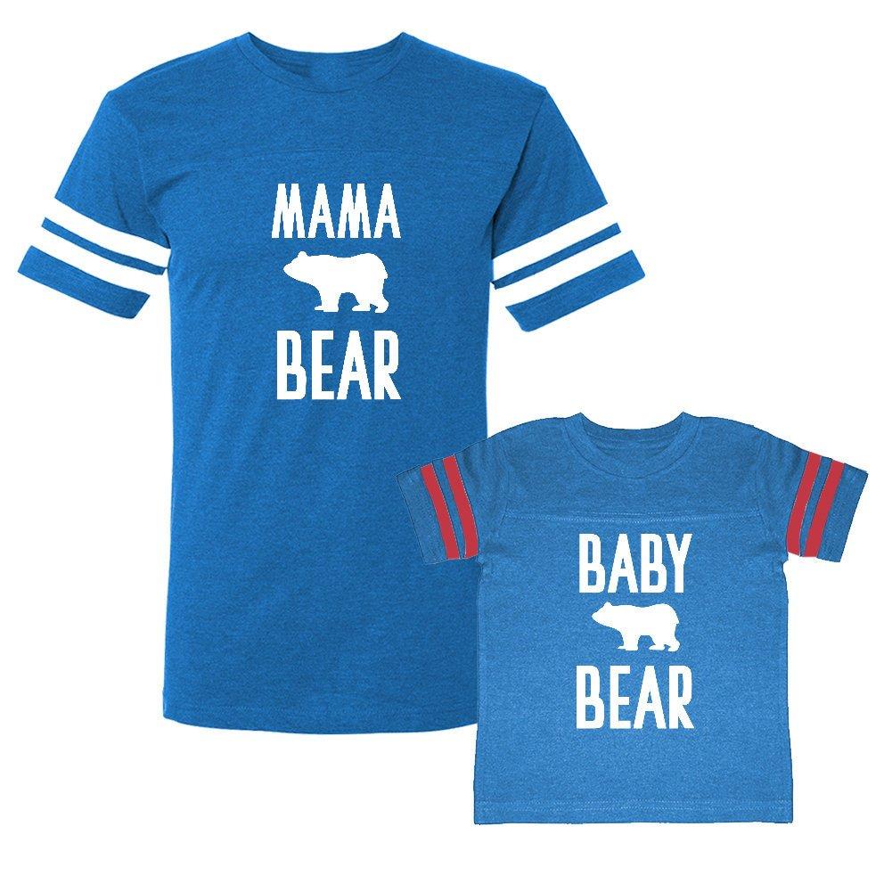 We Match!! - Mama Bear/Baby Bear (Cute Bear) - Matching Adult Football T-Shirt & Kids T-Shirt Set (YTH Large, Adult XL, Cobalt/Pink, White Print) by We Match!
