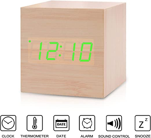Alarm Clock,SpeedV Creative LED Digital Wood Alarm Clock Voice Sound Control Time Date Temperature Display Cube Clock for Home Red Light Office Daily Life Heavy Sleepers