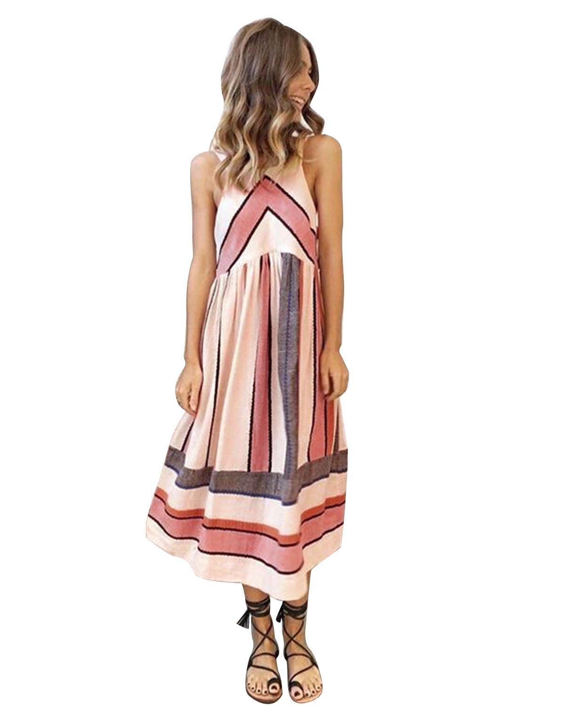 Sunm boutique Women's Sleeveless Halter Neck Striped Midi Dress with Pockets
