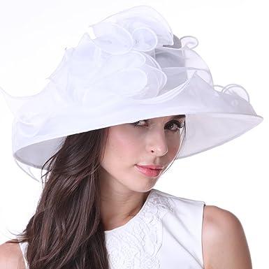June s Young Women Hats Wedding Hats White Organza Rose Floppy Brim ... 41f425ee211