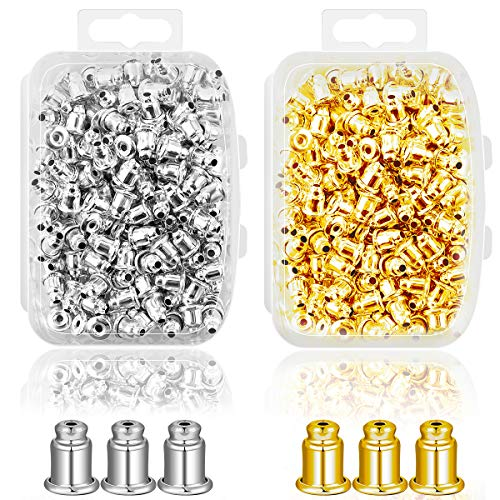 - Ear Backs Supplies - Metal Ear Nuts Bullet Safety Cluth Earring Stopper Replacements for Ear Hook Ear Post Studs Pierced Earrings.