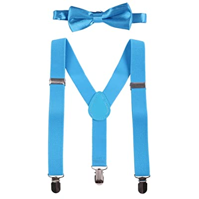Baby Boys Y Back Adjustable Elastic Suspender Strong Sturdy Clip-on Braces Pre tied Bow Tie Set Kids Perfect for Tuxedo