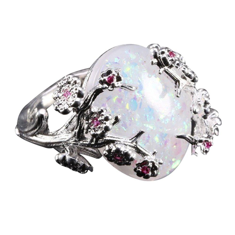 super1798 Women Fashion Oval Faux Opal Plum Blossom Flower Vine Finger Ring Jewelry Gift - White 10