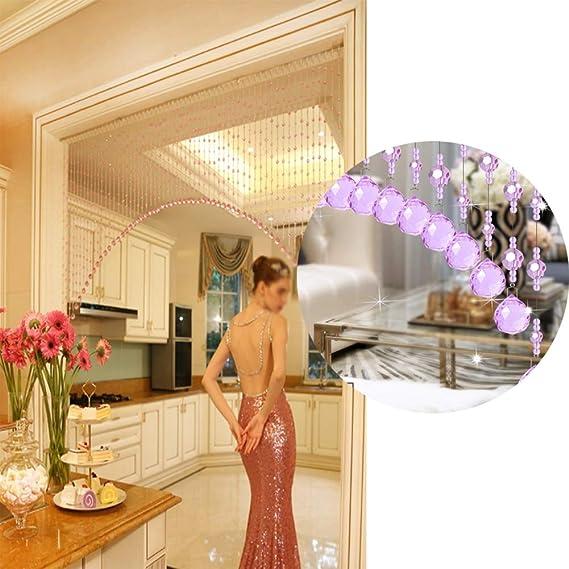 GDMING Cortinas De Hilos for Puertas Cortina De Cuentas Hogar Decoración Divisor Biombos Cristal Cadenas Purpurina Panel Cocina,Sala,Personalizable (Color : Pink, Size : 20STRANDS-60X60CM): Amazon.es: Hogar