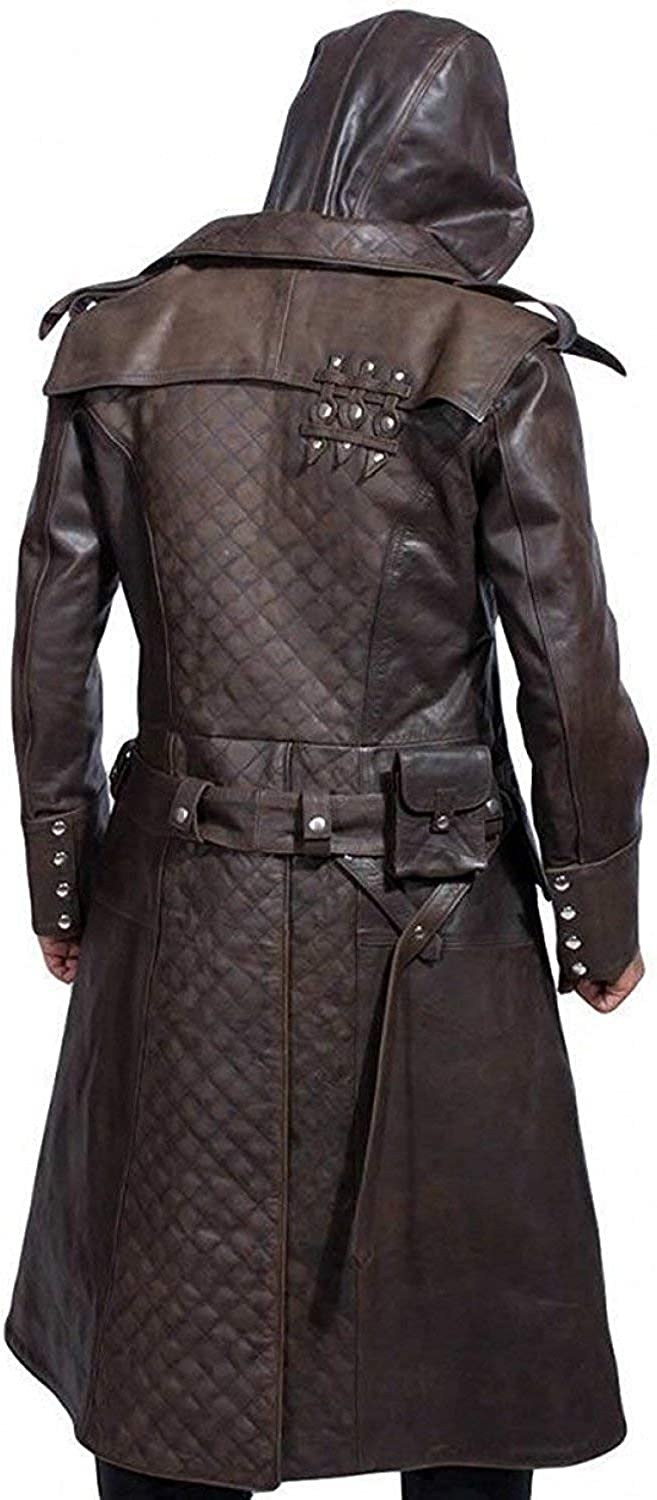 Leather Jacket Brown Long Coat with Hoodie