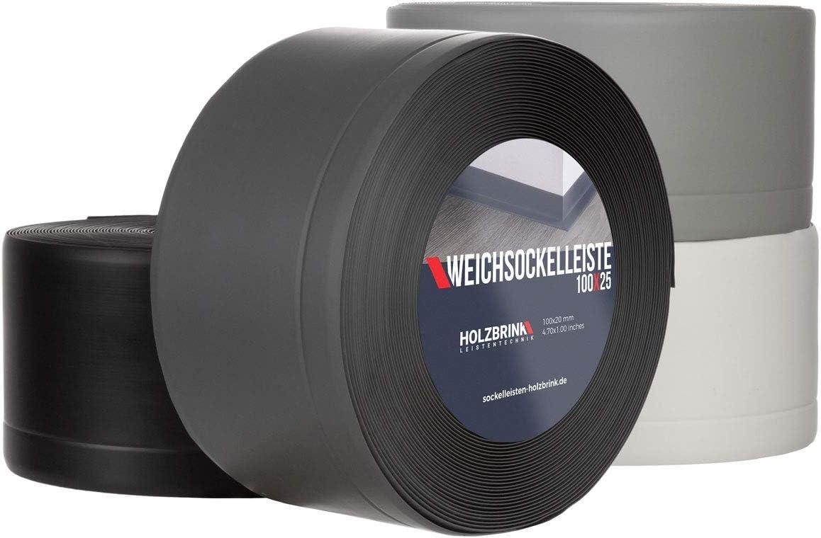 10 m HOLZBRINK Plinthe Souple Auto-Adh/ésive de Couleur Graphite Plinthe Cass/ée PVC 100x25 mm