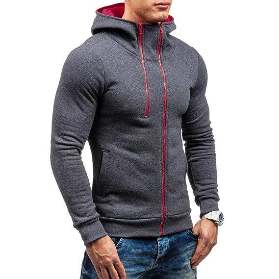♚Sudadera con Capucha y Cremallera para Hombre,Otoño Casual Solid Top Manga Larga Outwear Absolute: Amazon.es: Ropa y accesorios