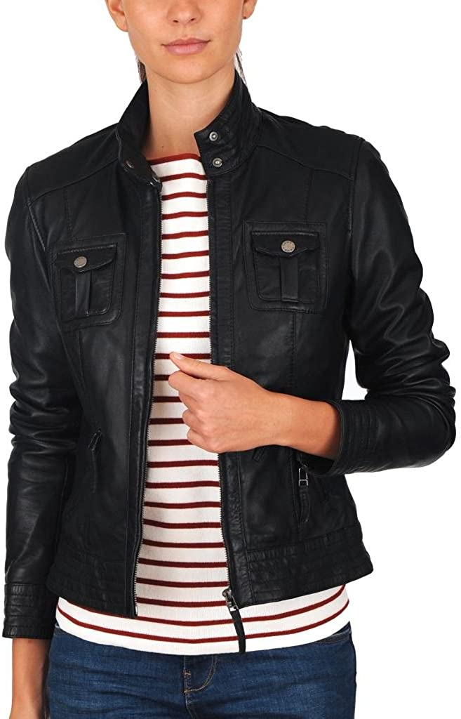 Lambskin Leather Women Black Jacket W226