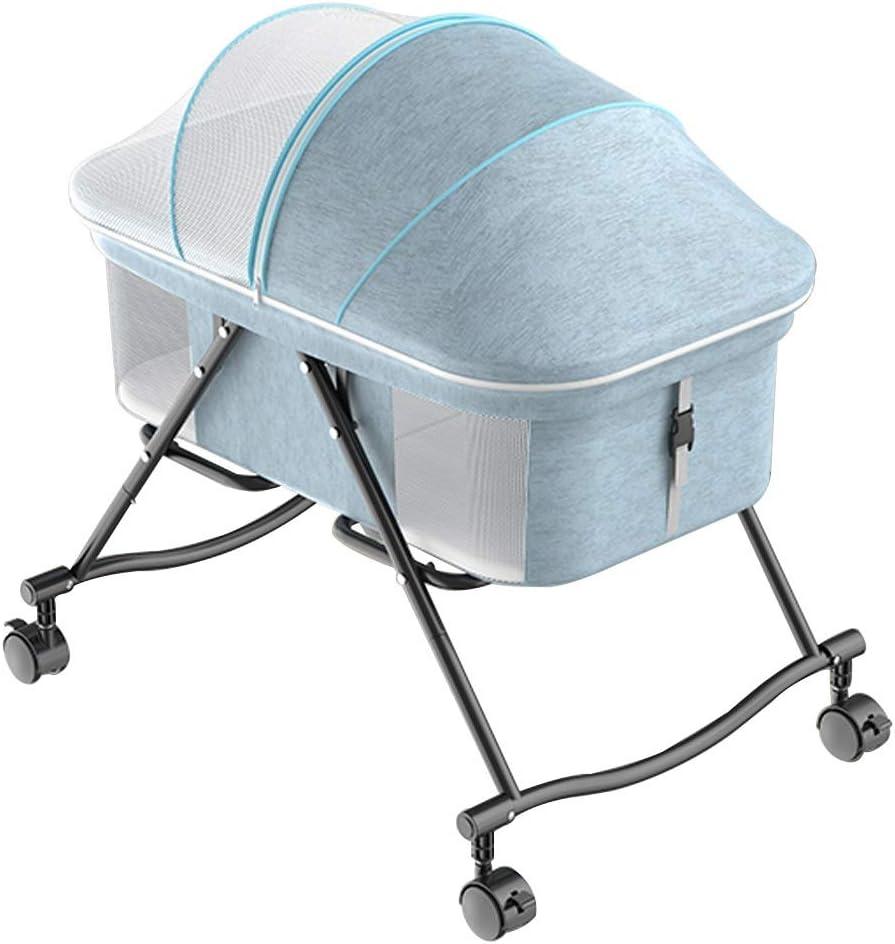 ベビーロッキングチェア 新生児ベッドベビーベッドポータブルベビー折りたたみロッキングクレードルジッパー通気性メッシュサイドベビーバシネットベビートラベルベッドベビーベッドの幼児のために、新しい生まれのに適し ベッド (Color : Blue)