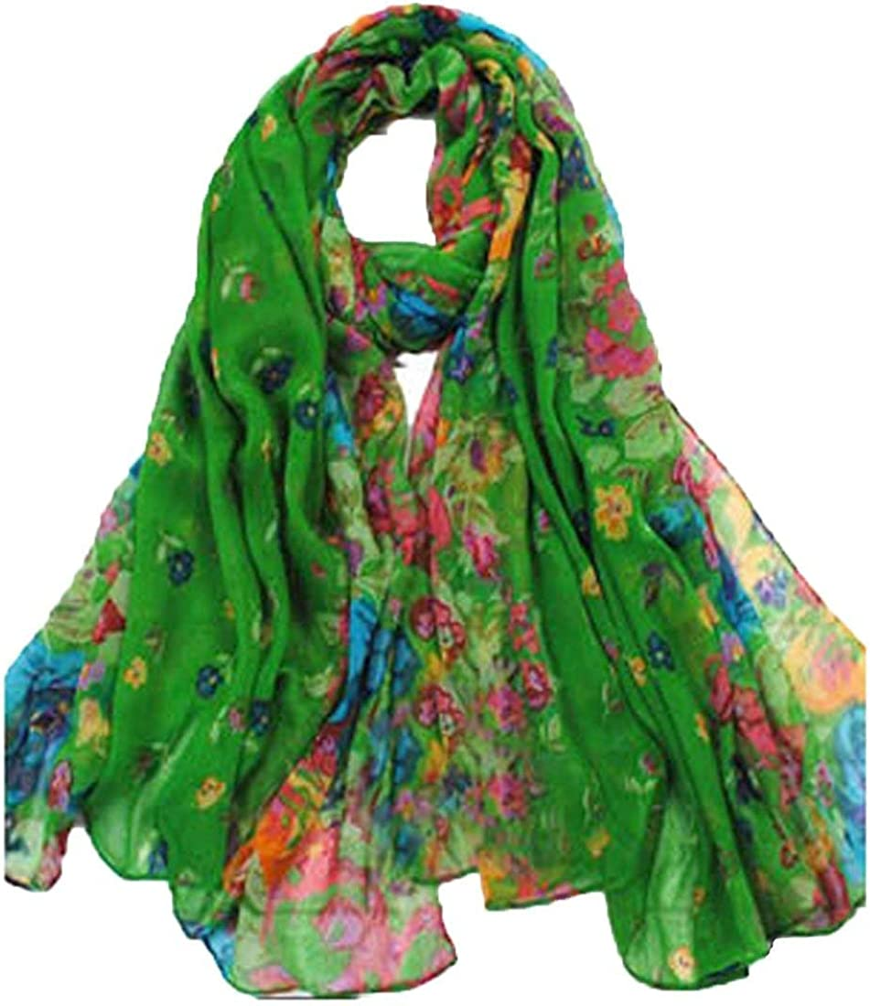 OUKIN Womens Colorful Floral Long Scarf Wraps Soft Scarves